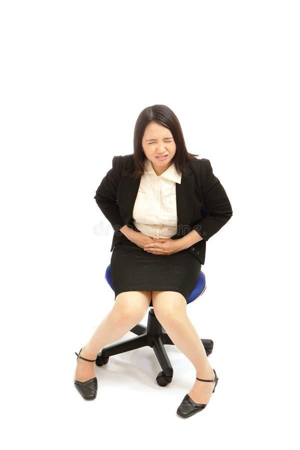 Femme asiatique d'affaires avec des émissions de menstruation images stock