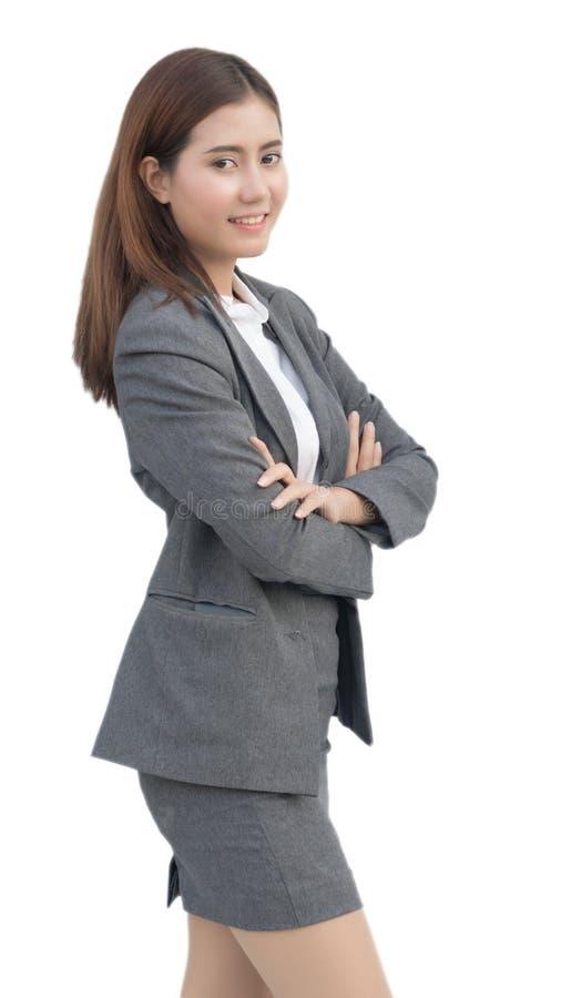 Femme asiatique d'affaires avec les bras croisés photos libres de droits