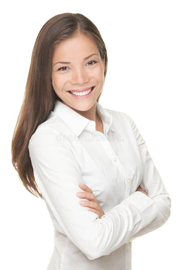 Femme asiatique d'affaires sur le fond blanc image stock