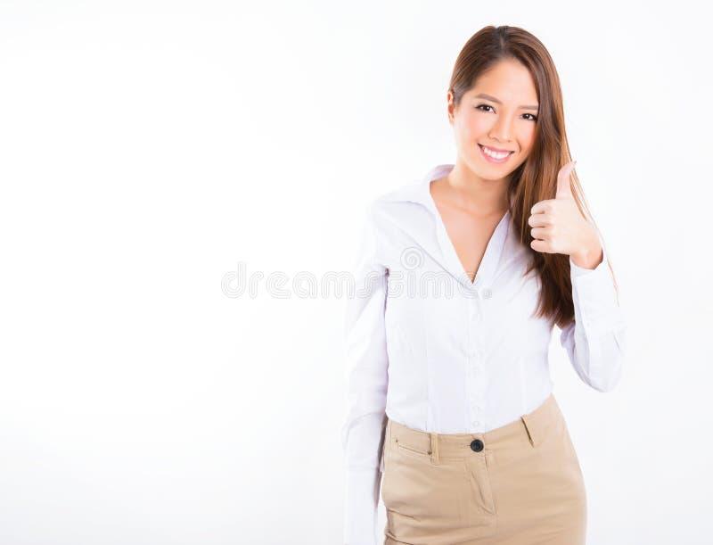 Femme asiatique d'affaires sur le fond blanc avec l'espace de copie photo stock