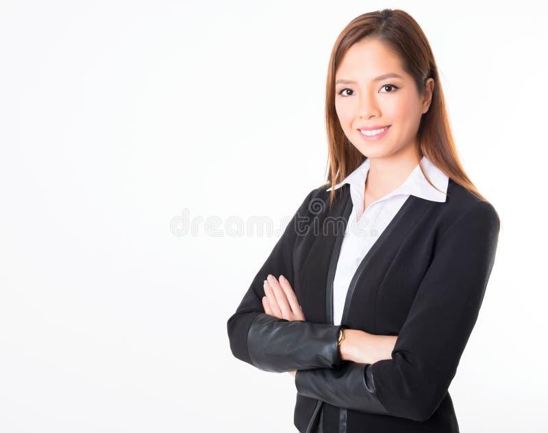 Femme asiatique d'affaires sur le fond blanc avec l'espace de copie photos stock