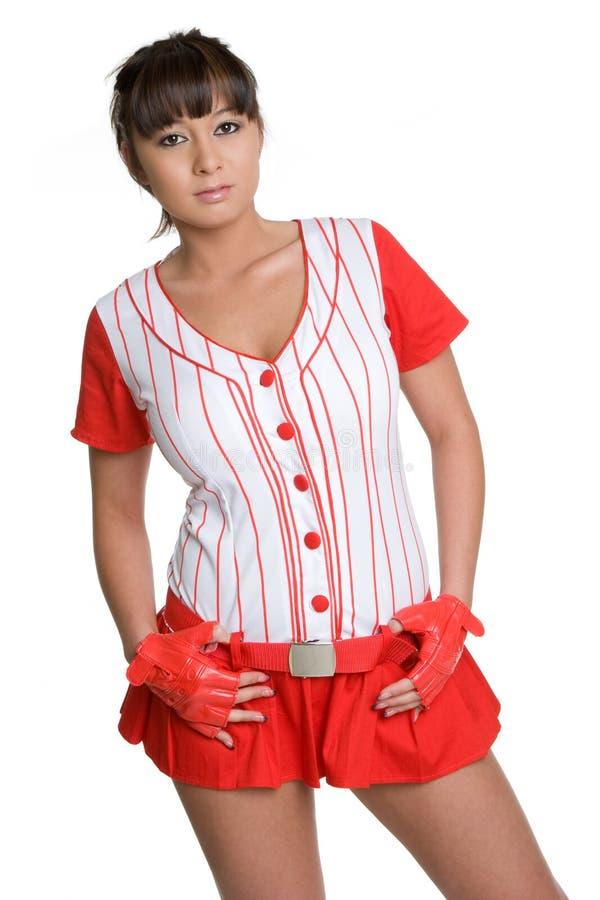 femme asiatique de base-ball image stock