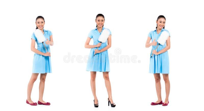 Femme asiatique de femme de ménage photo stock