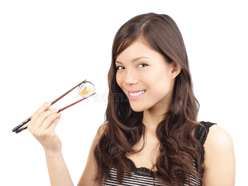 Femme asiatique de sushi mangeant l'espace sain de copie de nourriture photographie stock libre de droits