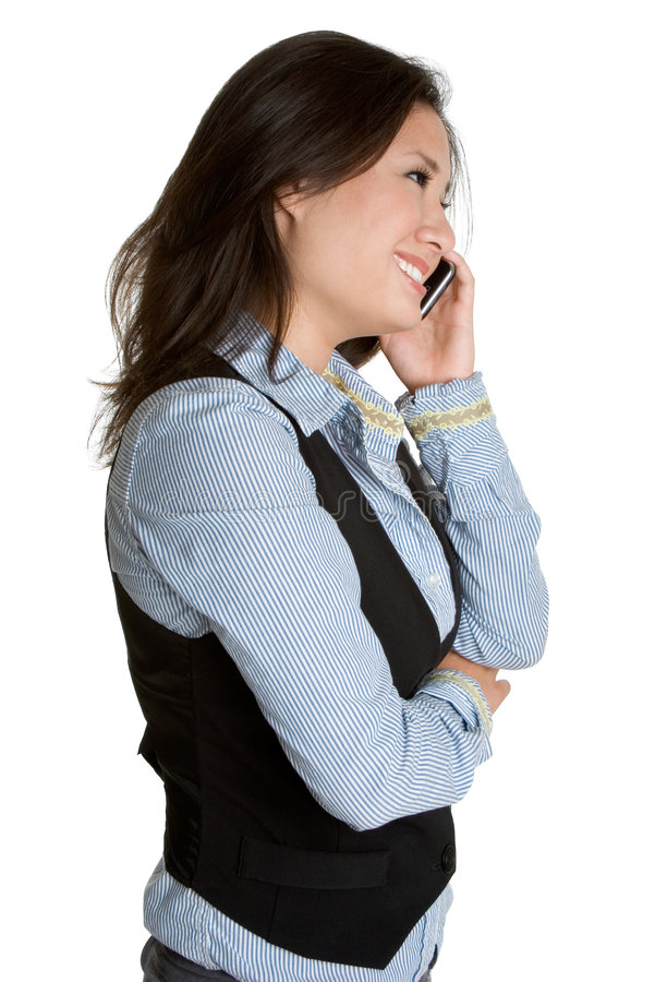 Femme asiatique de téléphone photo libre de droits