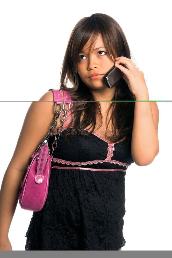 Femme asiatique de téléphone portable photographie stock libre de droits