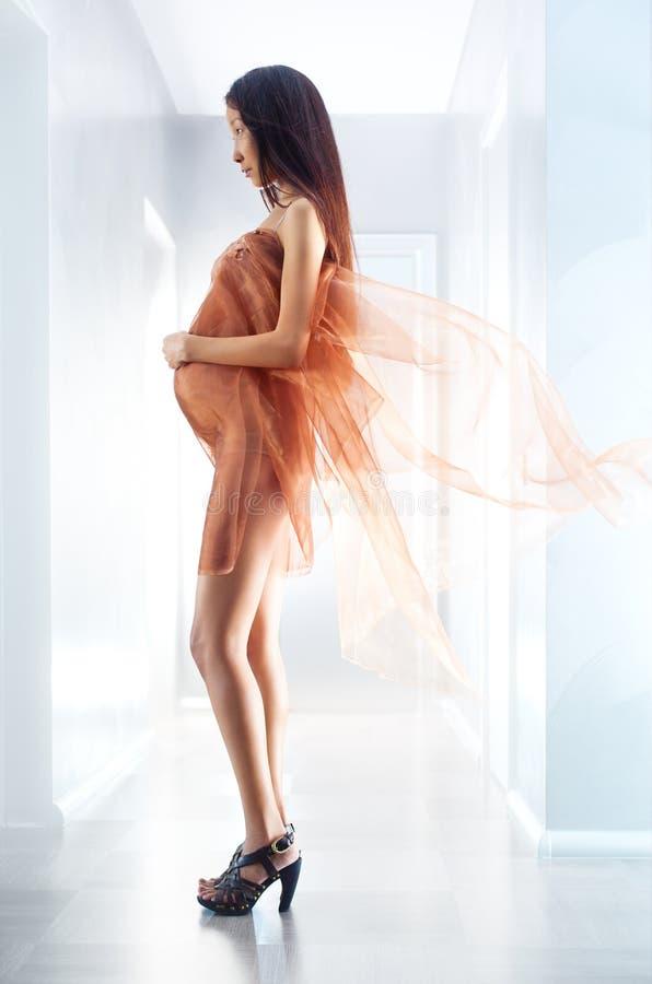 Femme asiatique enceinte de jeunes photos libres de droits