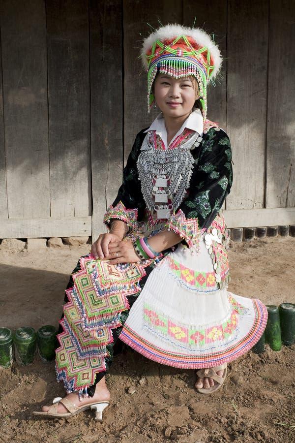 Femme asiatique Laos, Hmong de verticale images libres de droits
