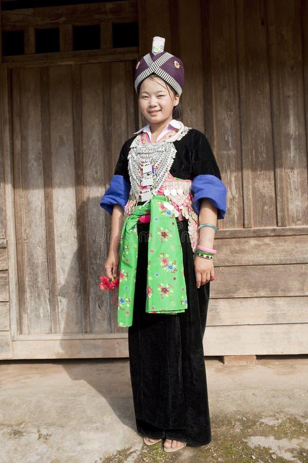 Femme asiatique Laos, Hmong de verticale photo libre de droits