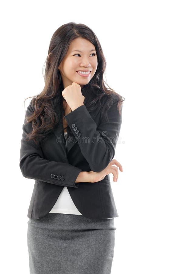 Femme asiatique pensante d'affaires images stock