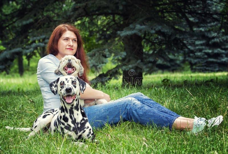 Femme assez belle avec de longs cheveux foncés avec le chien et le shitzu dalmatiens photos stock