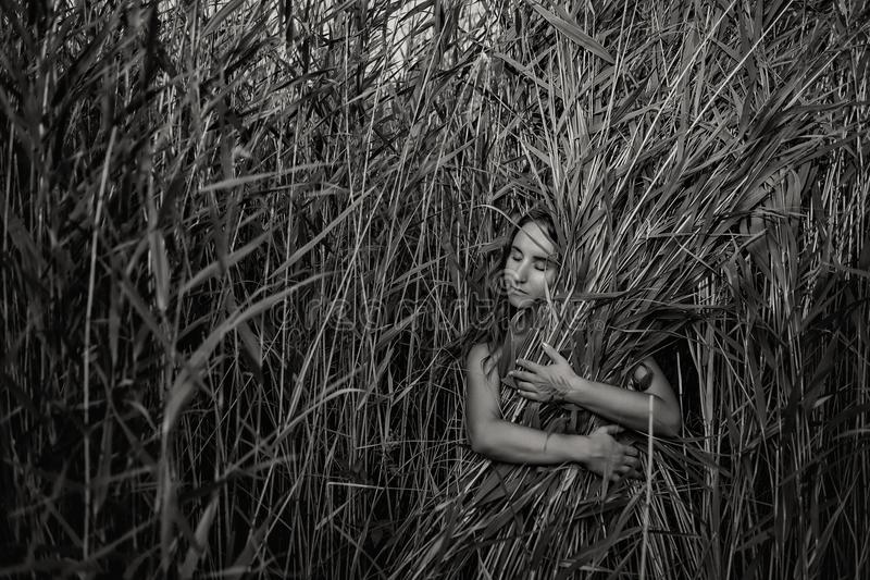 Femme assez caucasienne étreignant l'herbe dans la peine photos stock