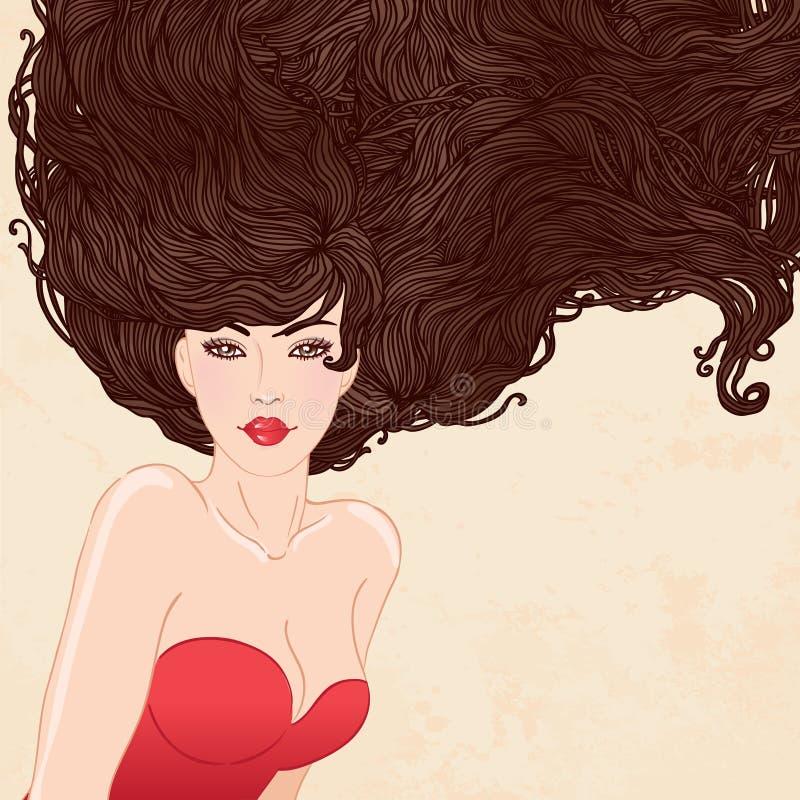 Femme assez jeune avec le beau long cheveu illustration de vecteur