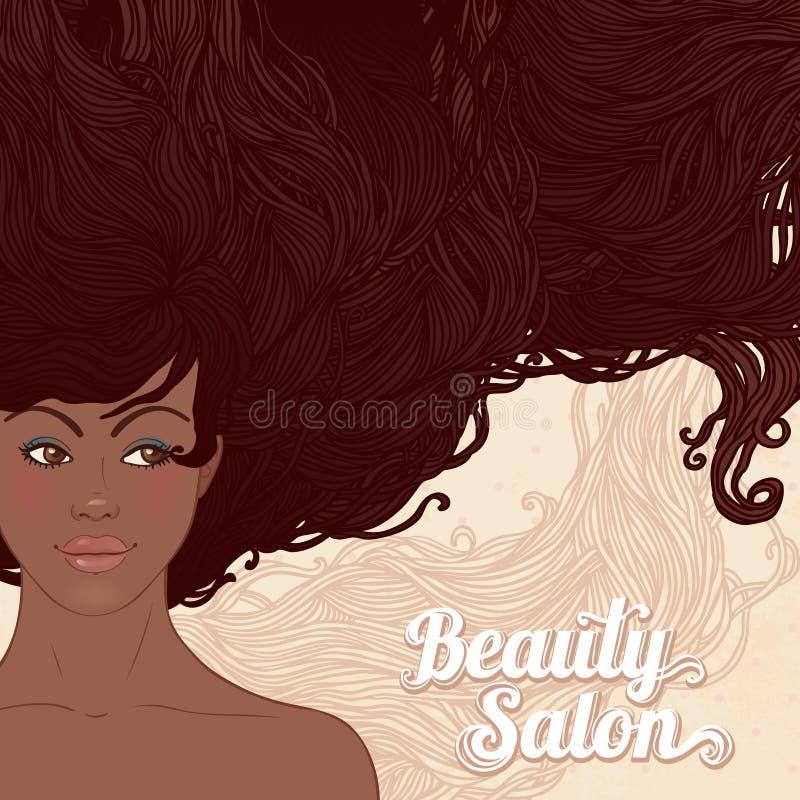 Femme assez jeune d'afro-américain illustration stock