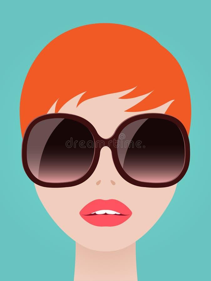 Femme assez rousse dans des lunettes de soleil à la mode illustration stock
