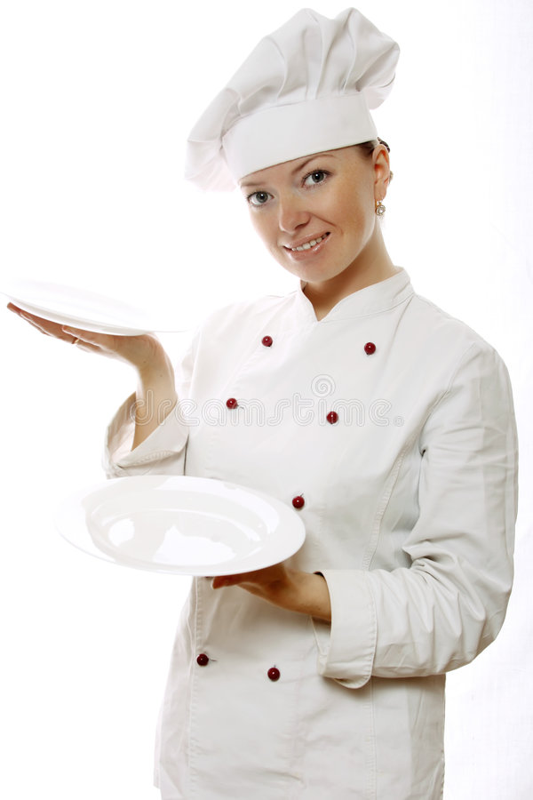 Femme attirant de cuisinier avec des paraboloïdes photos libres de droits