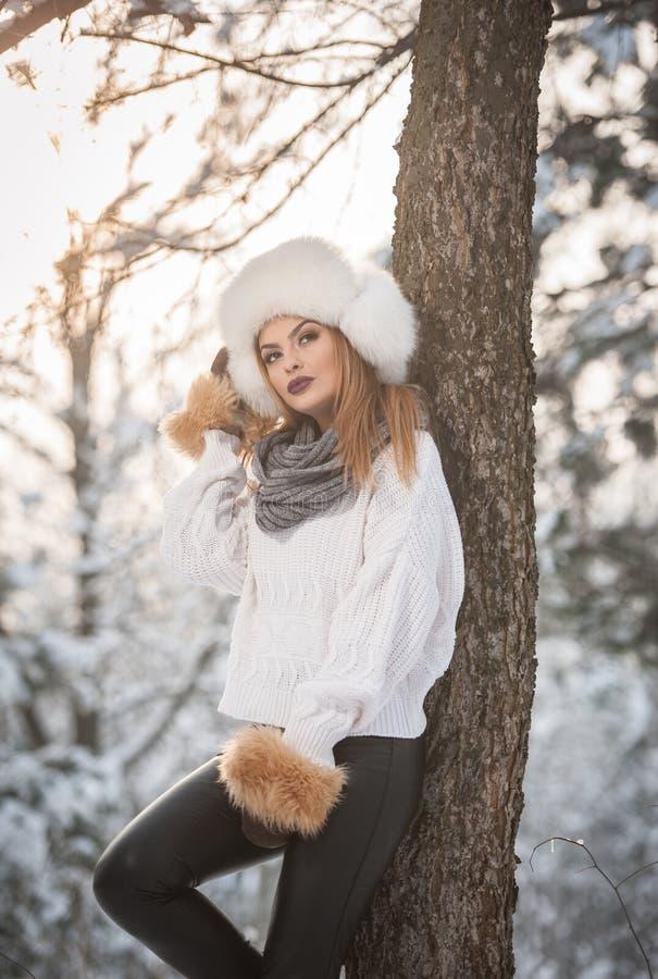 Femme attirante avec le chapeau et la veste blancs de fourrure appréciant l'hiver Vue de côté de la pose blonde à la mode de fill image stock