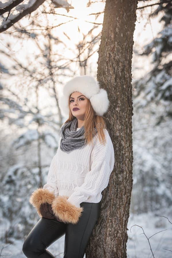 Femme attirante avec le chapeau et la veste blancs de fourrure appréciant l'hiver Vue de côté de la pose blonde à la mode de fill images libres de droits