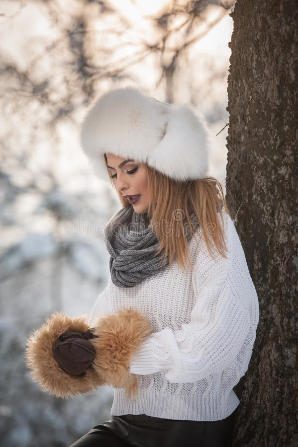 Femme attirante avec le chapeau et la veste blancs de fourrure appréciant l'hiver Vue de côté de la pose blonde à la mode de fill photos libres de droits