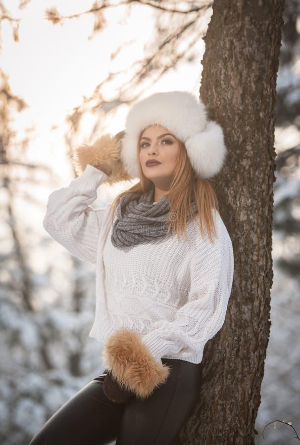 Femme attirante avec le chapeau et la veste blancs de fourrure appréciant l'hiver Vue de côté de la pose blonde à la mode de fill photo libre de droits