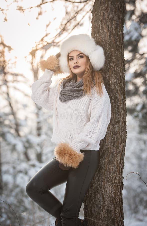 Femme attirante avec le chapeau et la veste blancs de fourrure appréciant l'hiver Vue de côté de la pose blonde à la mode de fill photographie stock