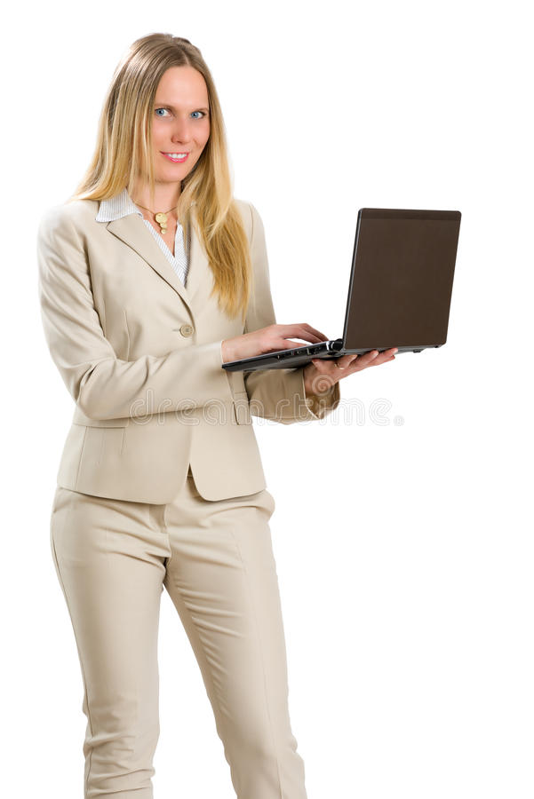 Femme attirante d'affaires avec le carnet, d'isolement sur le blanc photos libres de droits