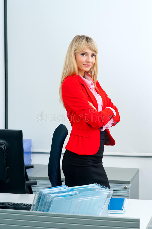 Download Femme Attirante D'affaires Dans Le Bureau Avec L'ordinateur Image stock - Image du compartiments, entrepreneur: 45367045