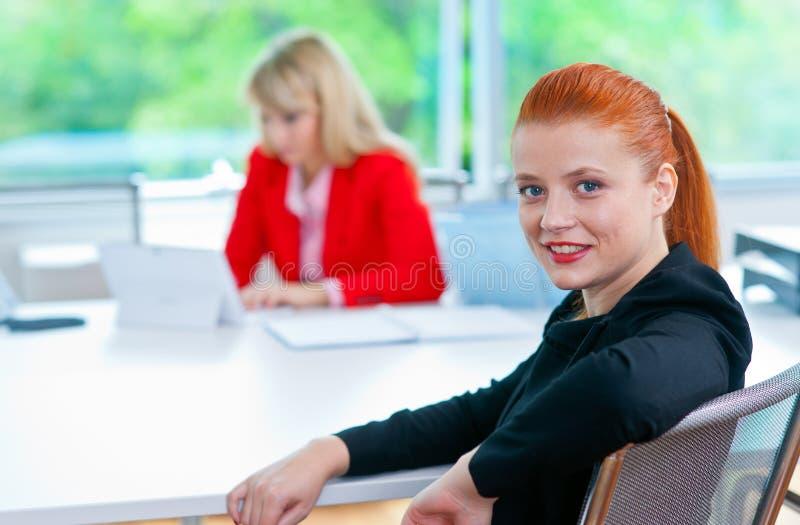 Download Femme Attirante D'affaires Dans Le Bureau Avec Le Collègue à L'arrière-plan Image stock - Image du intérieur, assez: 45365259