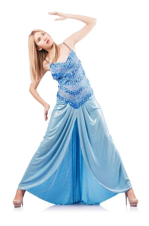 Femme Attirante Dans La Robe Bleue Image stock