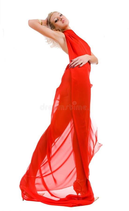 femme attirante de rouge de tissu photo stock