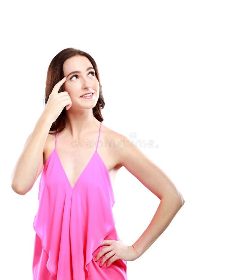 Femme attirante essayant de se rappeler quelque chose photographie stock