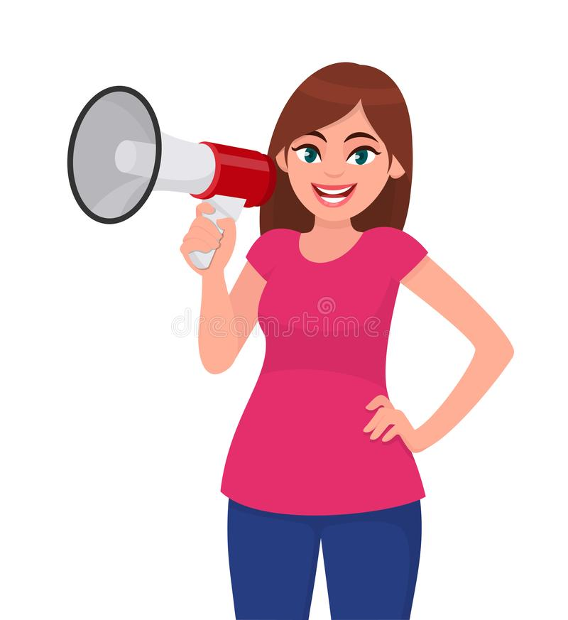 Femme attirante tenant un mégaphone/haut-parleur bruyant et tenant la main sur la hanche Fille faisant l'annonce avec le mégaphon illustration stock