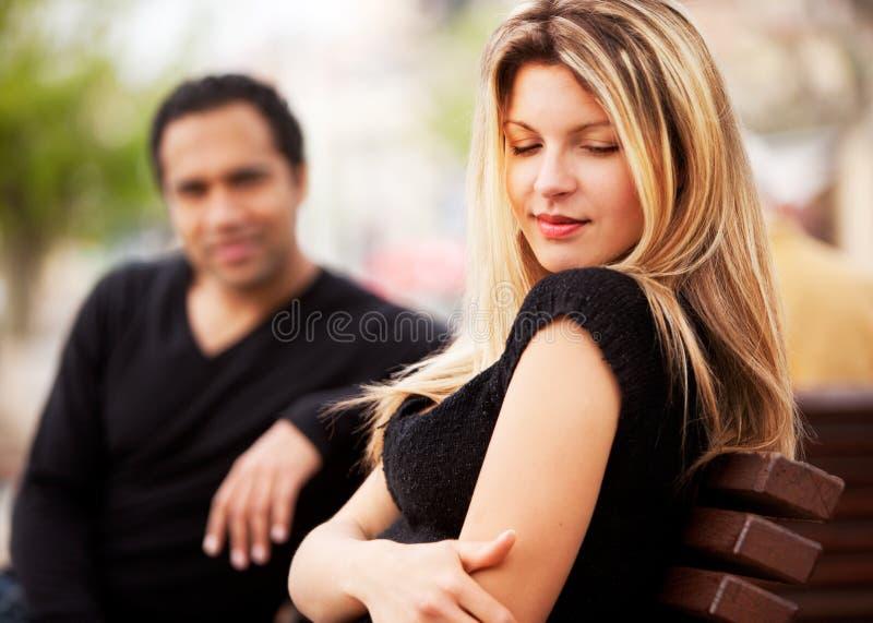 Femme attirante timide photo stock