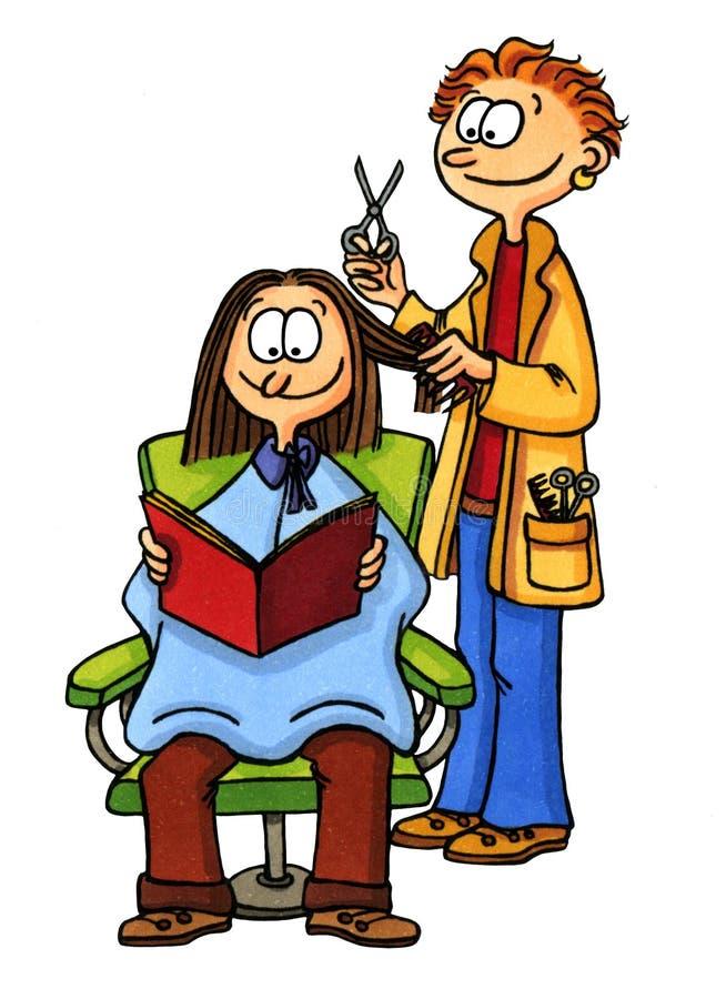 Femme au coiffeur illustration stock