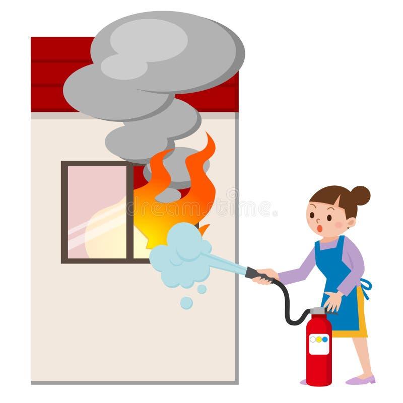 Femme au foyer à la lutte contre l'incendie illustration stock