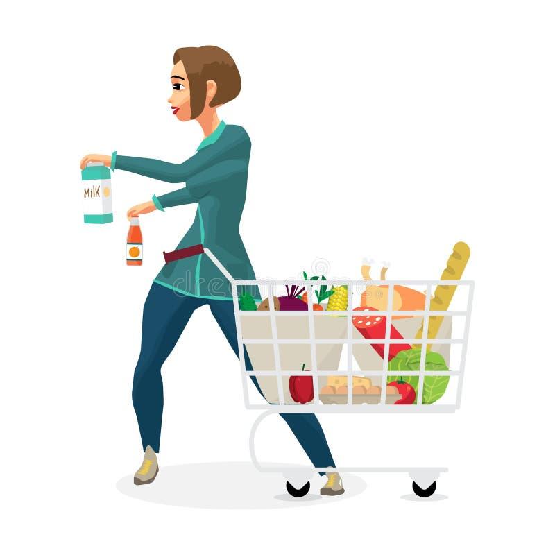 Femme au foyer de jeune femme dans un supermarché avec un plein caddie illustration stock