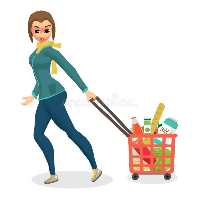 Femme au foyer de jeune femme dans un supermarché avec un plein panier de foo illustration libre de droits