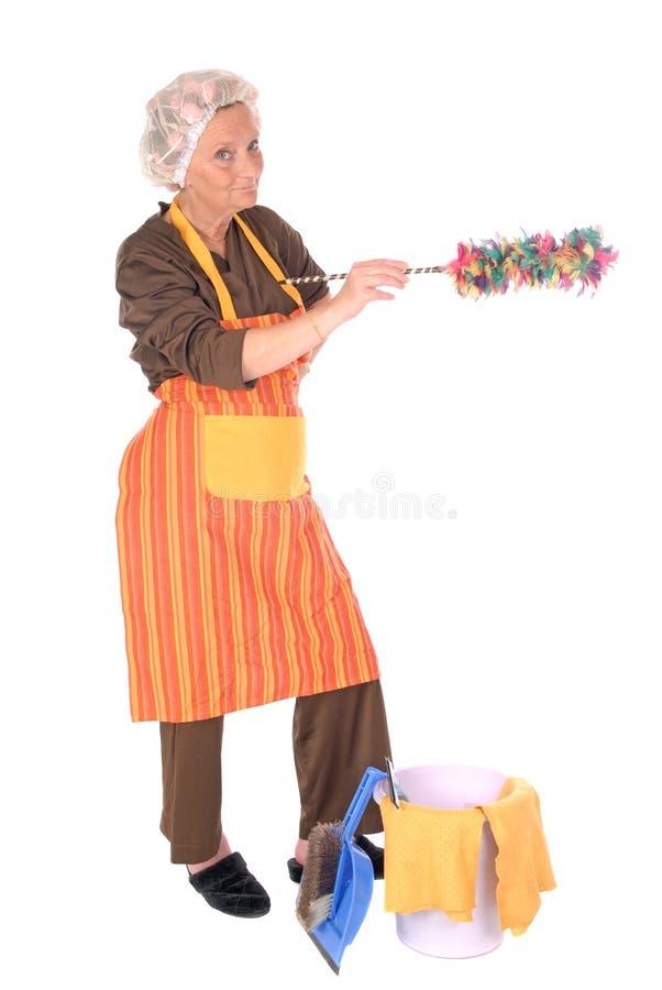 Femme au foyer de nettoyage photos stock