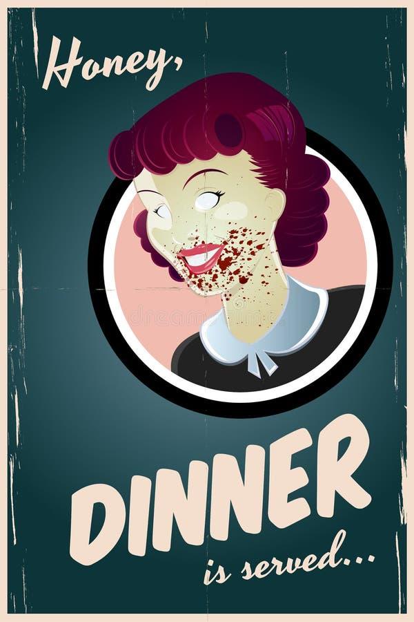 Femme au foyer de zombi illustration de vecteur