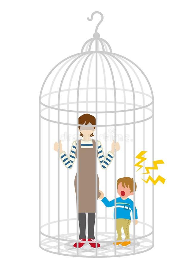 Femme au foyer et fils anonymes dans la cage à oiseaux illustration de vecteur