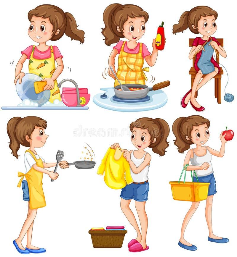 Femme au foyer faisant différentes corvées illustration libre de droits