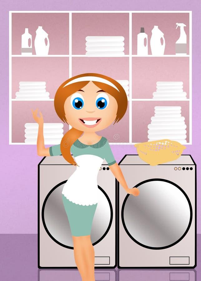 Femme au foyer faisant la blanchisserie illustration de vecteur
