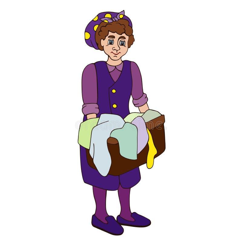 Femme au foyer faisant la blanchisserie illustration libre de droits