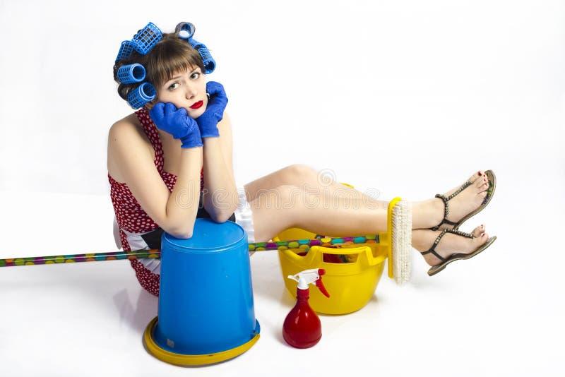 Femme au foyer fatiguée photos stock