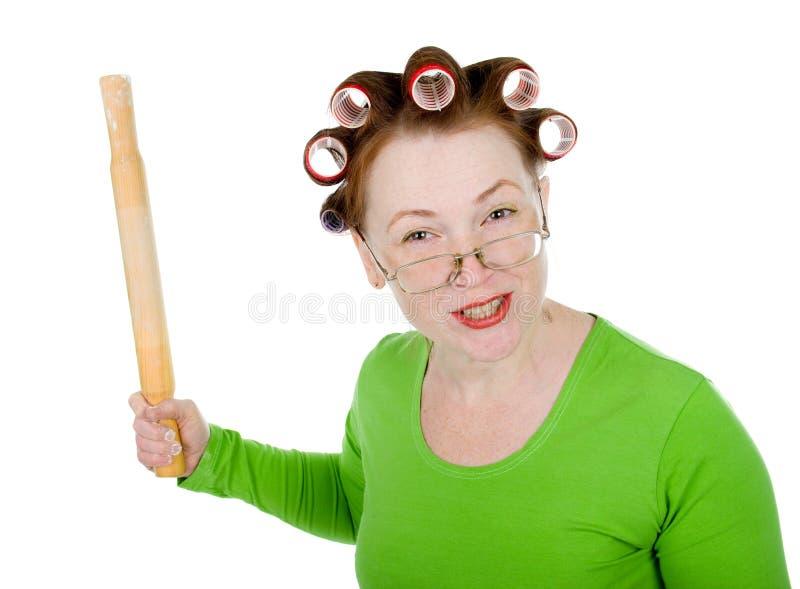 Femme au foyer folle fâchée image libre de droits