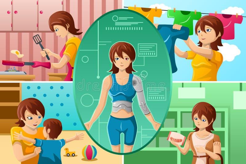 Femme au foyer gérant des tâches de multiple illustration de vecteur