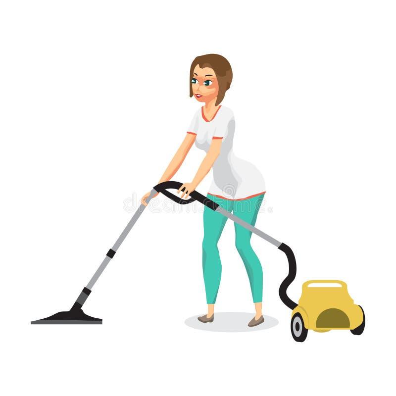 Femme au foyer nettoyant à l'aspirateur à la maison avec un aspirateur Doin de jeune femme illustration libre de droits