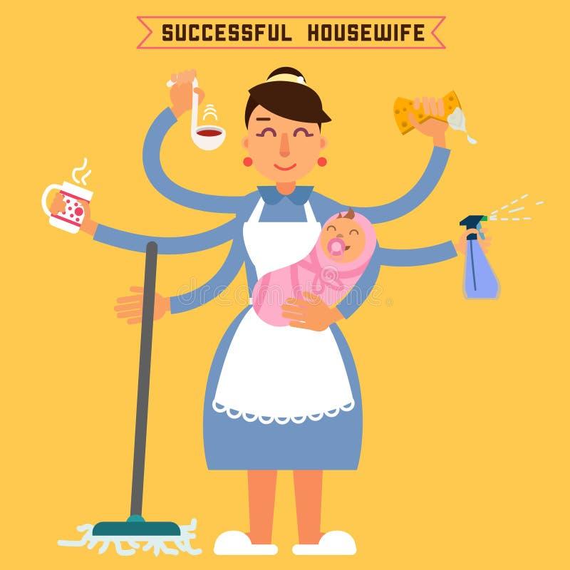 Femme au foyer réussie Femme réussi Femme multitâche illustration libre de droits