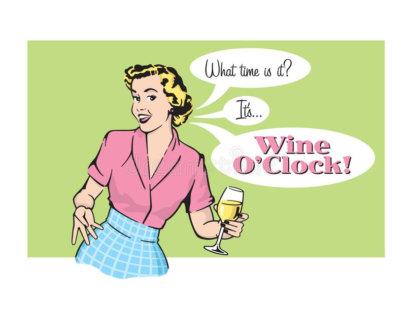 Femme au foyer Vector Graphic d'O'Clock de vin rétro illustration de vecteur