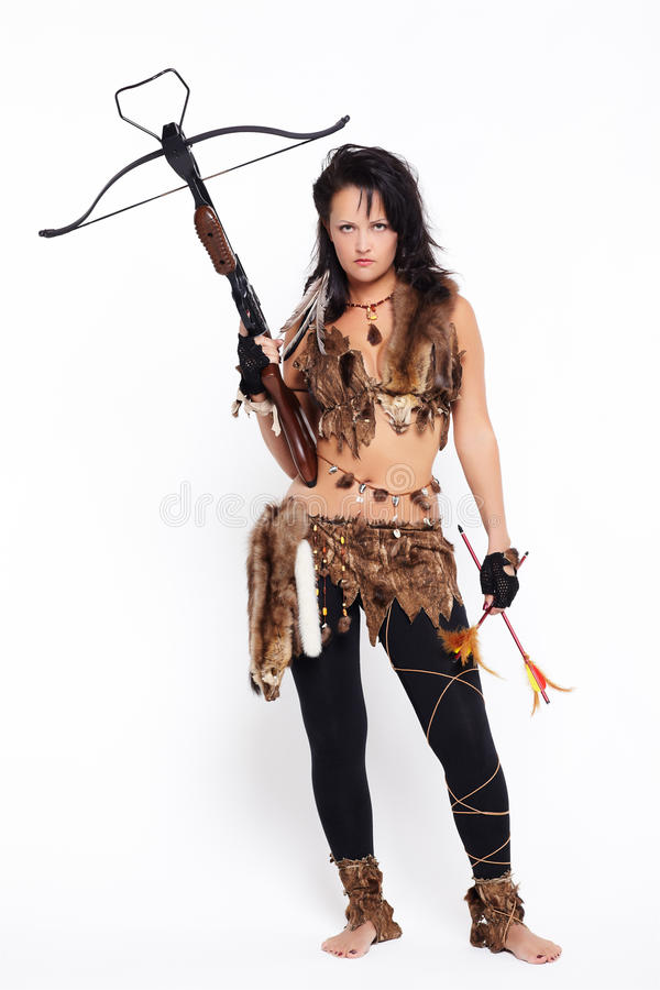 Femme avec arbalest image libre de droits